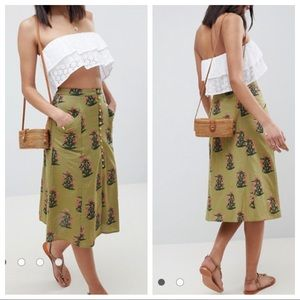 EUC ASOS Button Front Midi Skirt